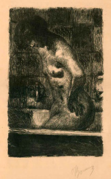 Pierre Bonnard, lithograph, Woman standing in her Bath