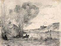Camille Corot, lithograph, Horseman in the Reeds