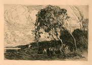 Camille Corot, etching, Recollection of the Fortifications at Douai
