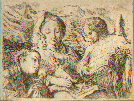Correggio (after), Madonna with Child and St Catherine, etching