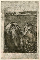 Camille Pissarro, Peasant Women in a Bean Field, etching