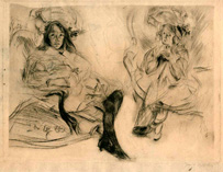 Jacques Villon, On a Visit, drypoint engraving